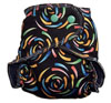 Two-Size Diaper: NB-Med in black swirls +microfleece